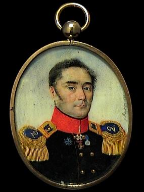 Miniature Portrait Of Russian Officer Napolionic War
