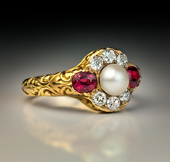 18k gold antique spinel pearl ring antique