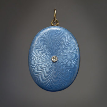Antique Russian blue guilloche enamel locket pendant