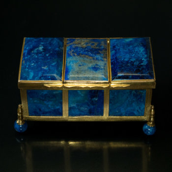 antique 19th century lapis jewelry box