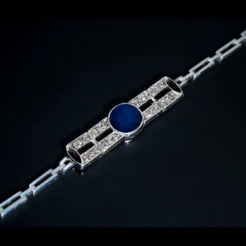 antique early Art Deco sapphire diamond bracelet