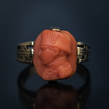 antique Napoleon cameo coral ring