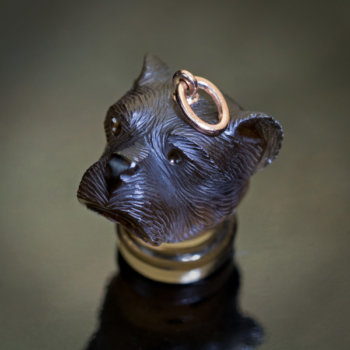 antique carved topaz dog's head pendant seal