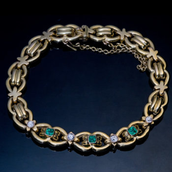 antique emerald diamond gold link bracelet