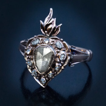 Georgian era rings - antique flaming heart engagement ring set with rose cut diamonds