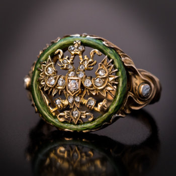 ring with Russian Imperial eagle
