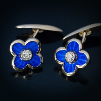 antique guilloche enamel gold diamond cufflinks