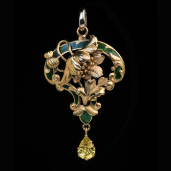 Art Nouveau antique gold enamel and yellow sapphire pendant
