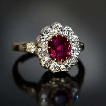 antique ruby and diamond engagement cluster ring
