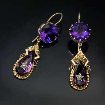 antique amethyst dangle earrings