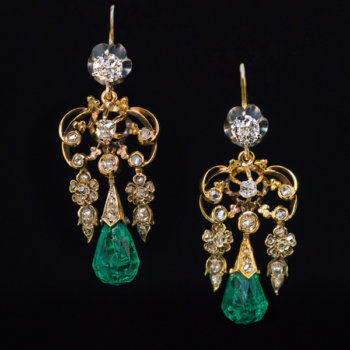 antique briolette cut emerald earrings