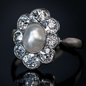 antique Edwardian pearl and diamond engagement ring