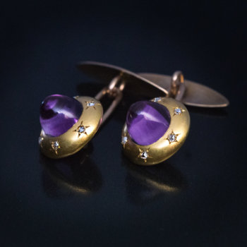 antique amethyst diamond gold cufflinks