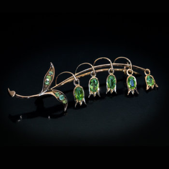 antique lily of the valley demantoid brooch