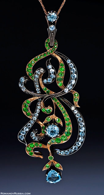 Art Nouveau Aquamarine And Demantoid Gold Pendant