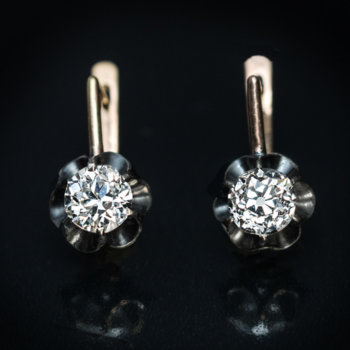 antique solitaire diamond earrings