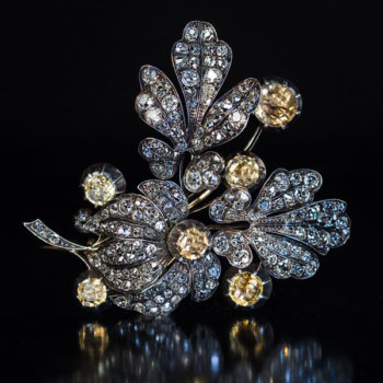 antique diamond and topaz brooch