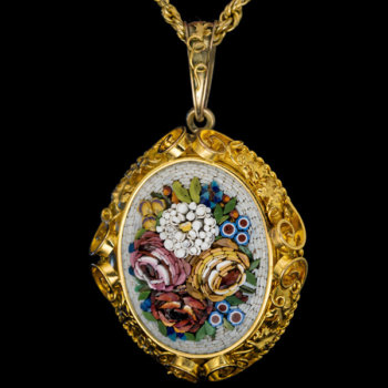 antique Italian micro mosaic gold necklace