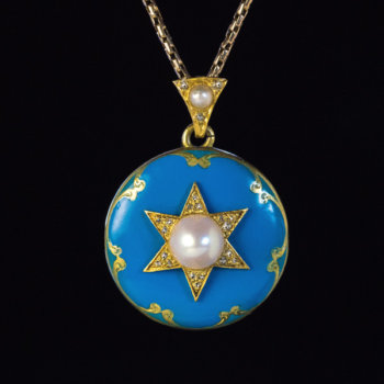 antique Victorian blue enamel pendant locket