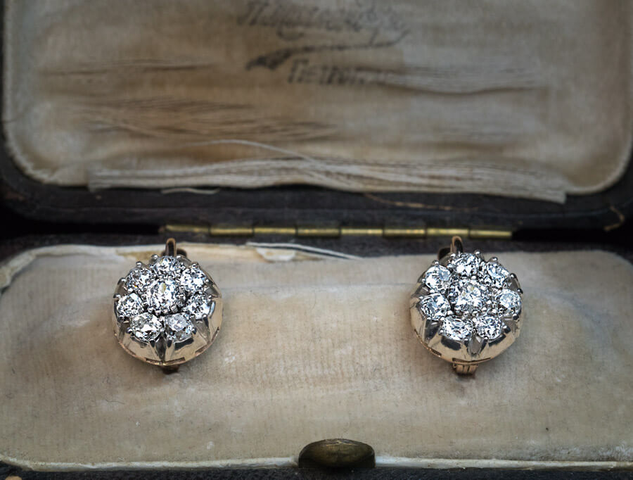 Antique Style 2 Ct Old Mine Cut Diamond Cer Earrings