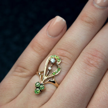 Art Nouveau demantoid diamond ring