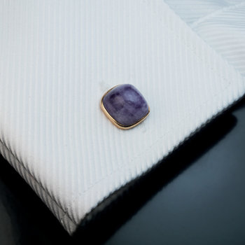 antique sugarloaf amethyst gold cufflinks