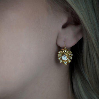 antique Victorian shell shaped gold earrings with diamonds