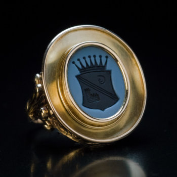 antique armorial seal ring