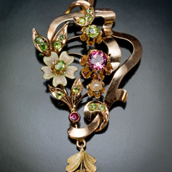 Art Nouveau antique gold enamel tourmaline pearl and demantoid garnet pendant