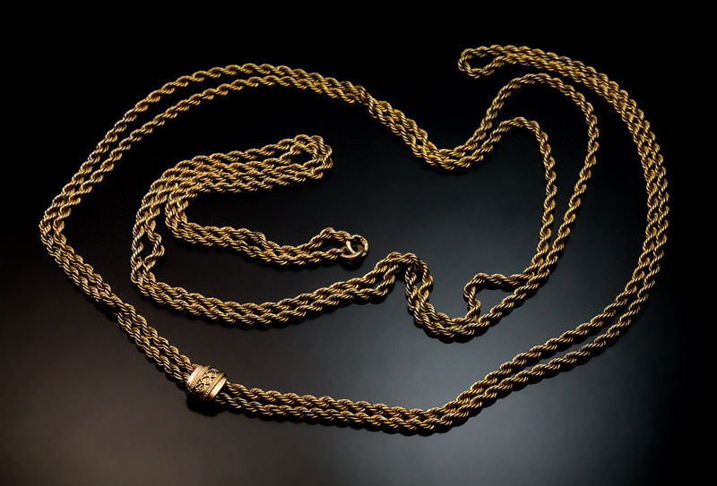 chains jewelry black lanvin product gold metallic necklace normal lyst twisted rope in