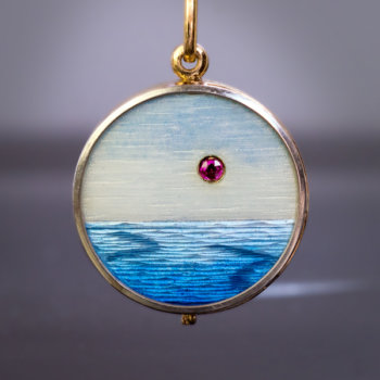 antique guilloche enamel locket pendant
