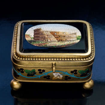 antique micro mosaic jewelry box Italian 19th century Rome