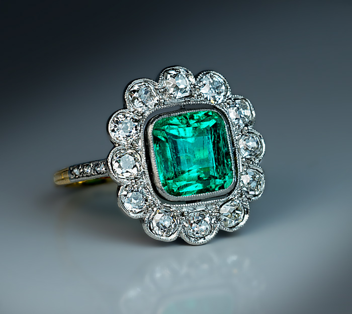 Antique Edwardian Colombian Emerald Diamond Ring Antique Jewelry