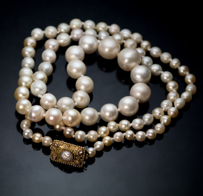 Vintage 1920s Pearl Necklace With Gold Clasp Antique
