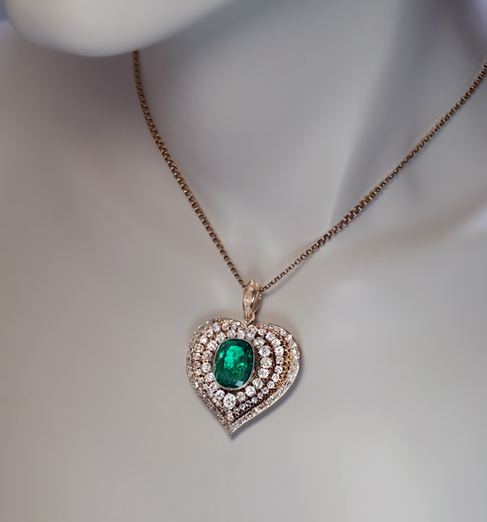 Antique heart shaped emerald diamond gold pendant antique jewelry antique heart shaped emerald diamond gold pendant aloadofball Images