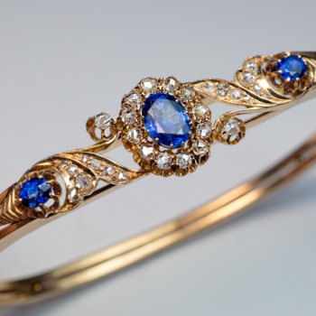 Victorian jewelry - antique sapphire diamond bangle bracelet