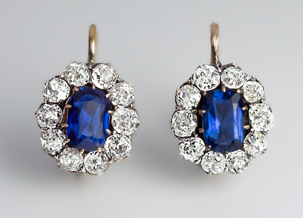 Antique Russian Shire And Diamond Earrings