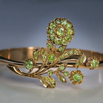 antique demantoid garnet Art Nouveau gold bangle bracelet