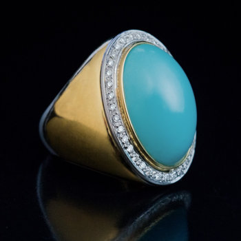 Persion turquoise diamond 18K gold cocktail ring