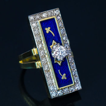 vintage blue guilloche enamel ring