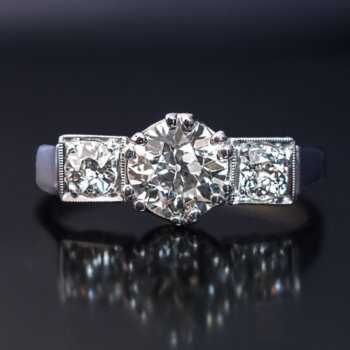 vintage three stone diamond engagement ring