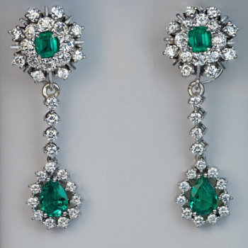 vintage emerald diamond dangle earrings