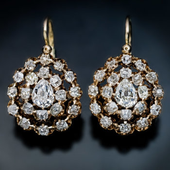 antique Victorian era late 1800s diamond cluster earrings