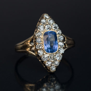 Antique Victorian sapphire and diamond marquise navette shape ring