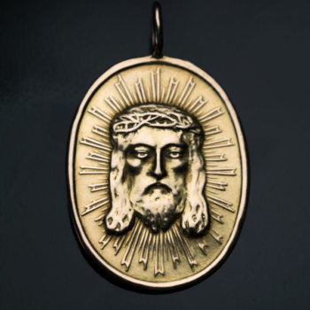 antique medallion of Jesus Christ