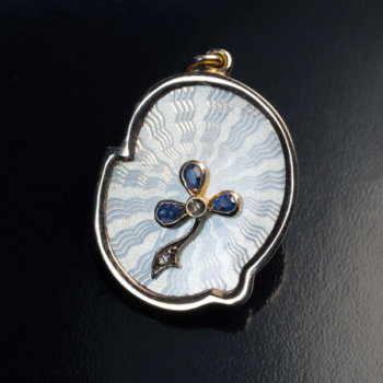 Art Nouveau antique guilloche enamel pendant