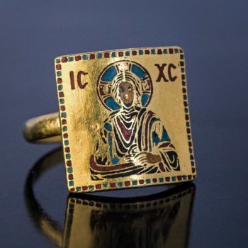 Byzantine revival antique enamel gold Jesus ring