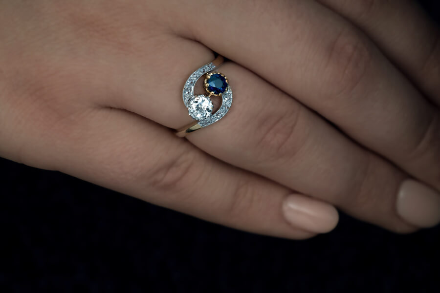 Antique French Sapphire Diamond Crossover Engagement Ring Antique