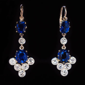 antique sapphire and diamond dangle pendant earrings