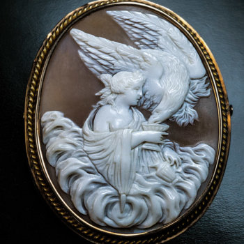 antique Victorian carved shell cameo of Hebe and the eagle of Zeus